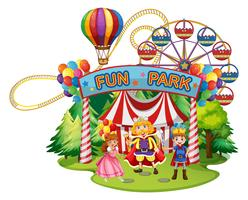 Funpark met mensen in kostuums
