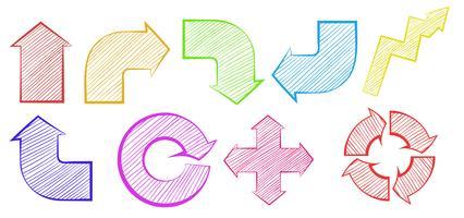 Groep kleurrijke pijlen vector