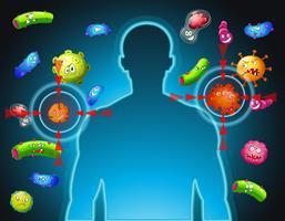 Menselijk lichaam en bacteriën vector