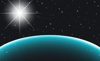 Ruimtescène met planeet en sterren vector
