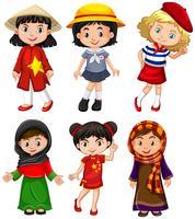 Leuke meisjes uit verschillende landen vector