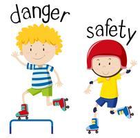 Tegenover woordkaart voor gevaar en veiligheid vector
