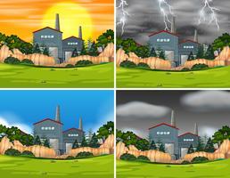 Set van industriële fabrieksscènes