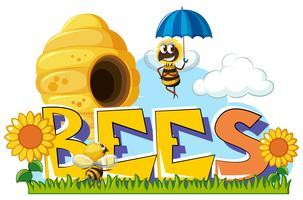 Bijen vliegen rond in de tuin