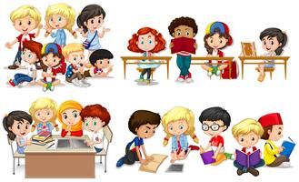Gelukkige kinderen die in klaslokaal leren vector