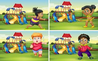 Set van oefeningen voor dik kind vector