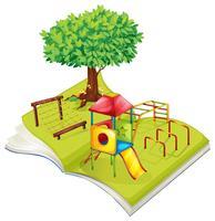 Boek met speelplaats in het park