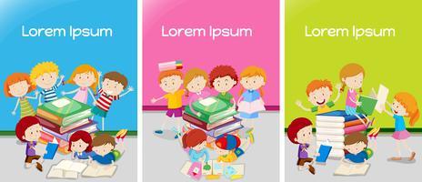 Drie klaslokalen met studenten die leren