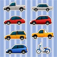 Stickerontwerp voor verschillende soorten voertuigen vector