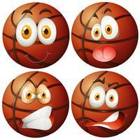 Basketballen met vier verschillende emoties vector