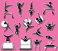 Sportpictogrammen voor verschillende soorten gymnastiek