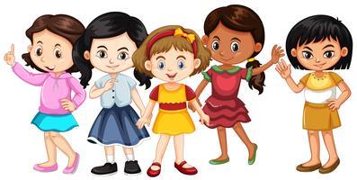 Vijf meiden met blije gezichten