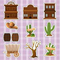 Stickerontwerp met westerse stijl van gebouwen en cactus