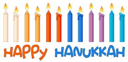 Verschillende kleurenkaarsen op hanukkahfestival vector