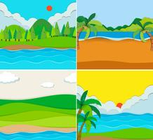 Vier scènes van strand en rivier