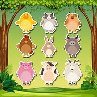 Set van dierlijke sticker