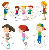 Jongens en meisjes touwtjespringen