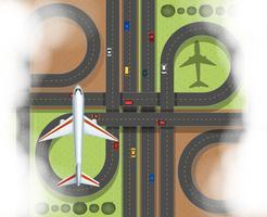 Luchtscène met vliegtuig en wegen