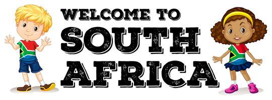 Zuid-Afrikaanse jongen en meisje begroeting vector