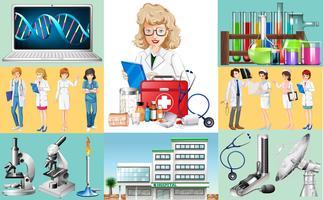Artsen en verpleegsters werken in het ziekenhuis vector