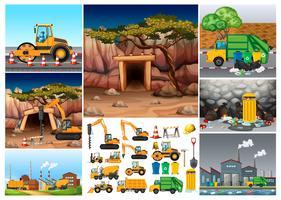 Graafmachine-tractoren die op verschillende locaties werken vector