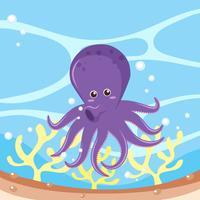 Paarse octopus in de oceaan
