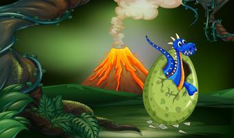 Blauw draak uitbroedend ei in diep bos vector