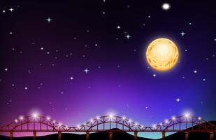Volle maan nacht over de brug vector