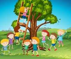 Vele kinderen die ladder in park beklimmen vector