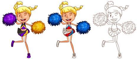 Cheerleader dansen in drie verschillende tekenstijlen