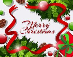 Vrolijke Kerstkaart met rode linten en ornamenten