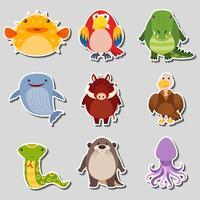 Stickerontwerp met verschillende soorten dieren