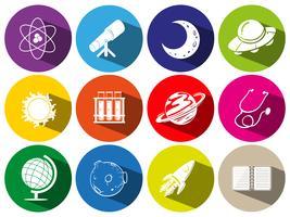 Ronde pictogrammen met sciece symbolen vector