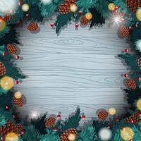 Grens sjabloon met kerst pinecones vector