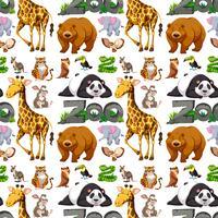Naadloos ontwerp als achtergrond met wilde dieren vector