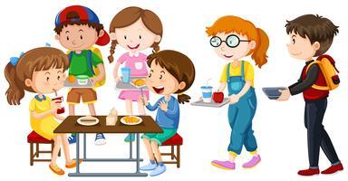 Kinderen na de lunch op tafel vector