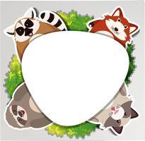 Ronde rand met luiaard en wasbeer