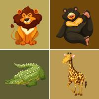 Vier soorten wilde dieren op bruine achtergrond