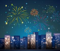 Stadsscène met vuurwerk 's nachts