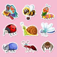 Stickerontwerpen voor verschillende bugs vector