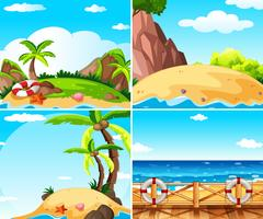 Vier scènes met eiland en oceaan vector