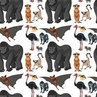 Naadloze achtergrond met wilde dieren vector