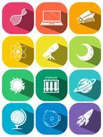 Wetenschapssymbolen op kleurenpictogrammen vector