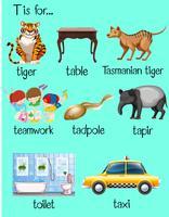 Veel woorden beginnen met letter T
