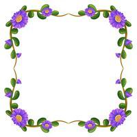 Een bloemenmarge met violette bloemen vector