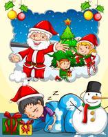 Jongen droomt van kerstfestival vector
