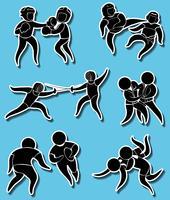 Stickerontwerpen voor verschillende vechtsporten vector