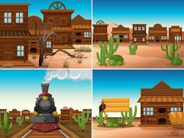 Vier westerse scènes met gebouwen en trein