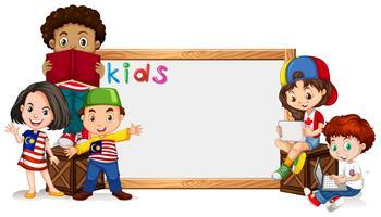 Grens sjabloon met veel kinderen vector