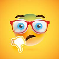 Emoticon met duimen naar beneden en lenzenvloeistof, vectorillustratie